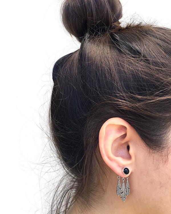 Pamela Love Frida Ear Jacket in Sterling Silver & Onyx
