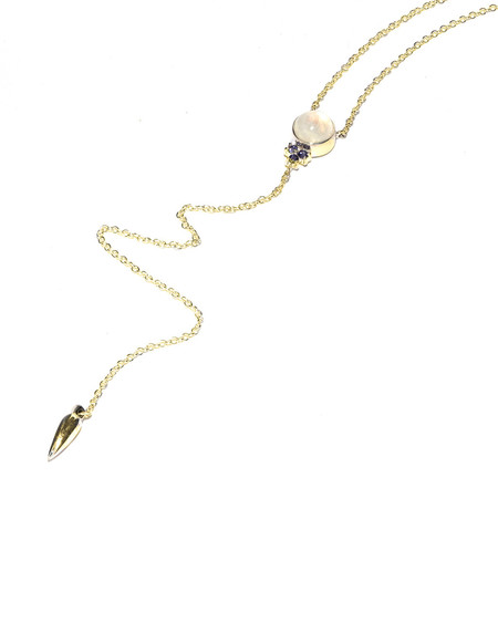 Pamela Love Levitation Lariat in Yellow Gold with Moonstone and Iolite