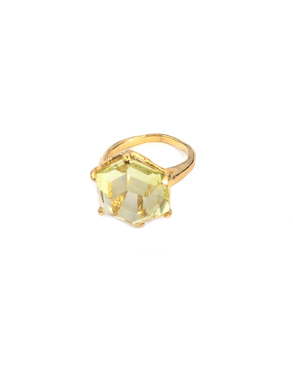 Unearthen Ament Ring in Yellow Gold with Lemon Quartz