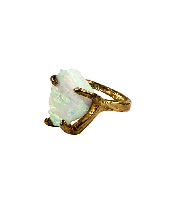 Unearthen Dirae Ring with White Opal