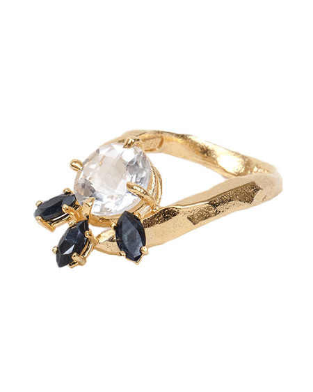 Unearthen Lune Ring with Quartz and Sapphires