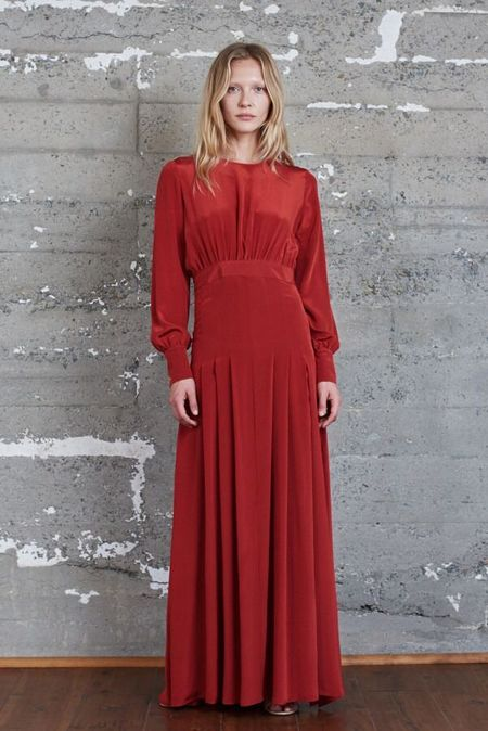 KAMPERETT Harper Silk Keyhole Dress - Rust