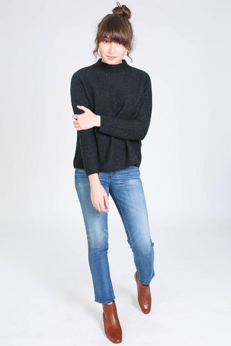 Evam Eva Cashmere garter stich pullover in charcoal