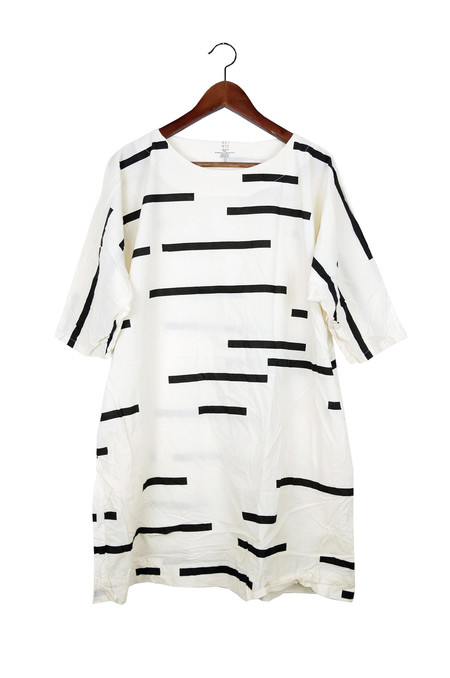 Uzi NYC Cream Broken Stripe Now Dress