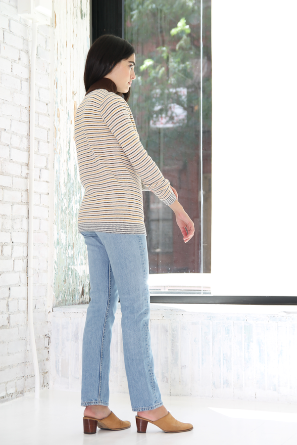 DUO NYC Vintage Knit Stripe Mockneck