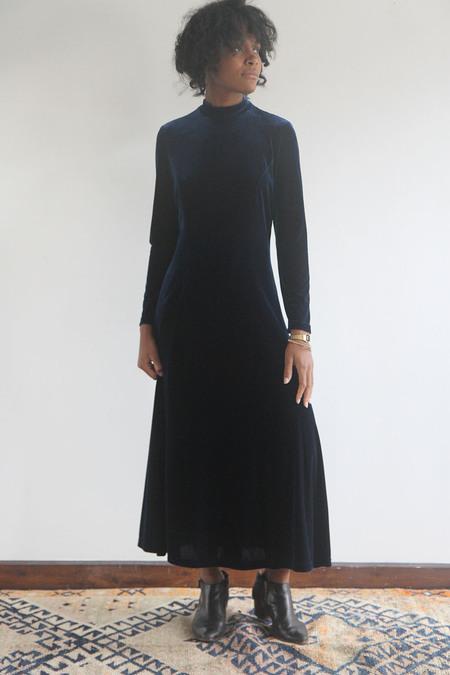 The Shudio Vintage Midnight Blue Velvet Turtleneck Dress