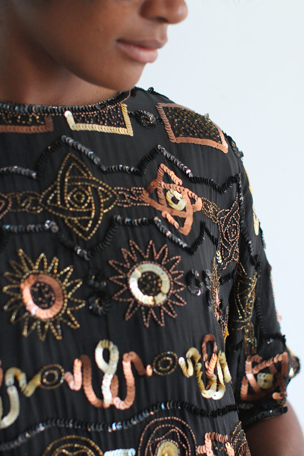 SomeLikeUs Vintage Fancy Silk Beaded top