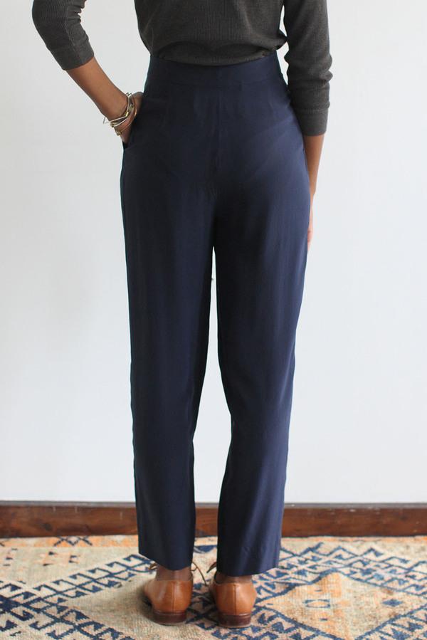 SomeLikeUs Vintage Navy Silk Slim Trousers