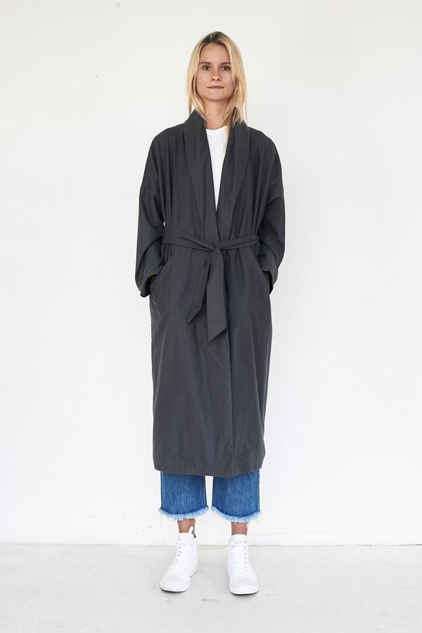 Black Crane Cotton Long Coat