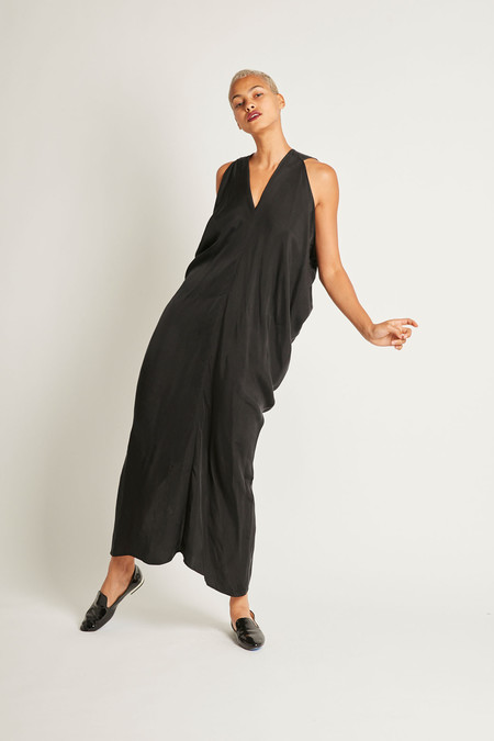 H. Fredriksson Long Stina Dress in Black Cupro
