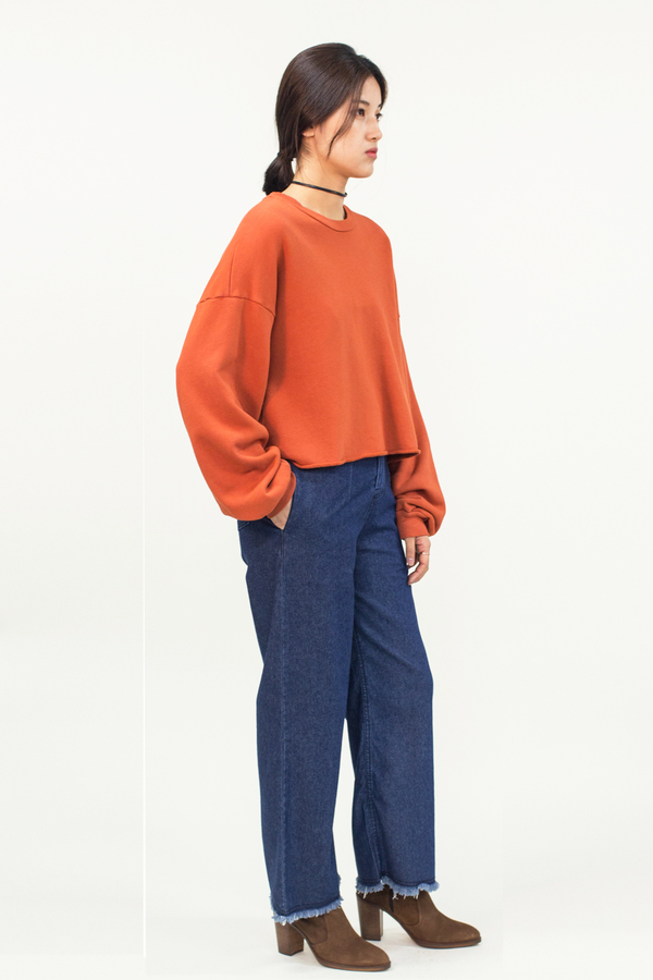 LACAUSA Cropped Pullover Top- Orange
