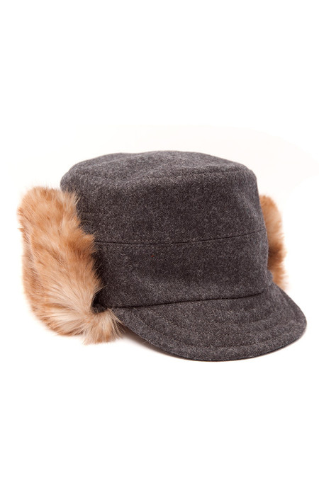 Tsuyumi Wool Fur Hat Charcoal