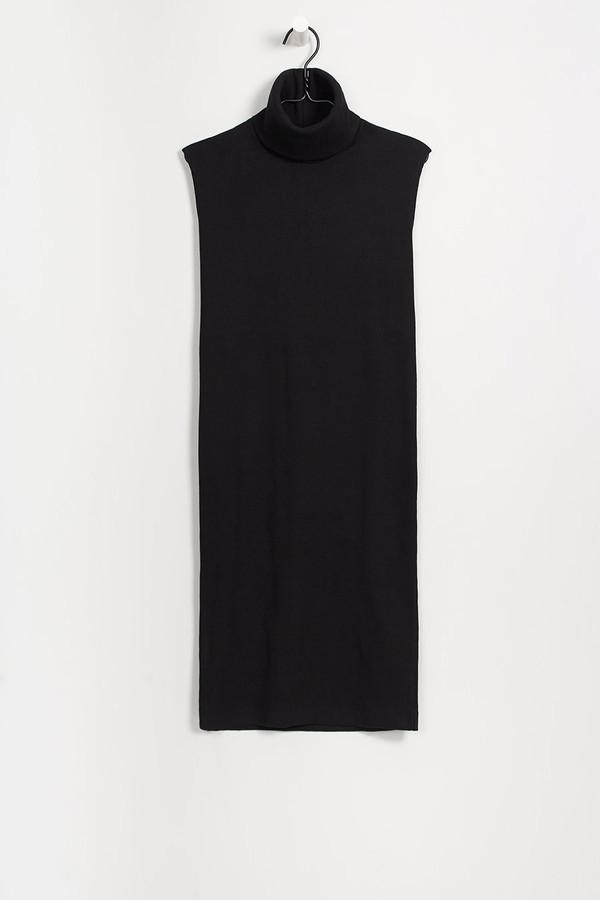 Kowtow Building Block Rib Roll Neck Dress in Black