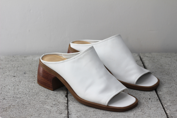 Hey Jude White Leather Mules
