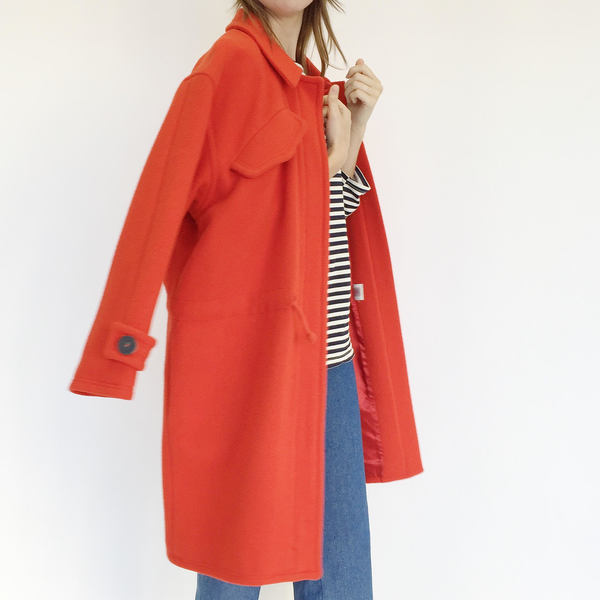 Johan Vintage Oversized Red Wool Coat