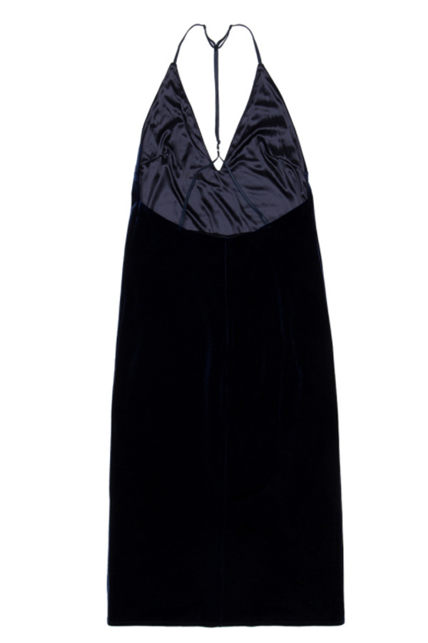 ROCKET LUNCH Velvet Midi Dress- Navy