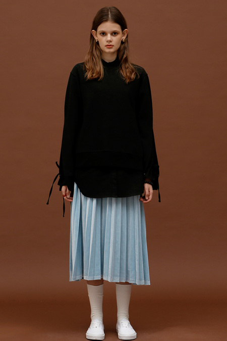 ROCKET LUNCH Velvet Pleated Skirt- Blue
