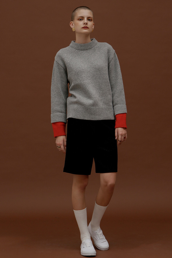ROCKET LUNCH Double Sleeve Knit- Grey