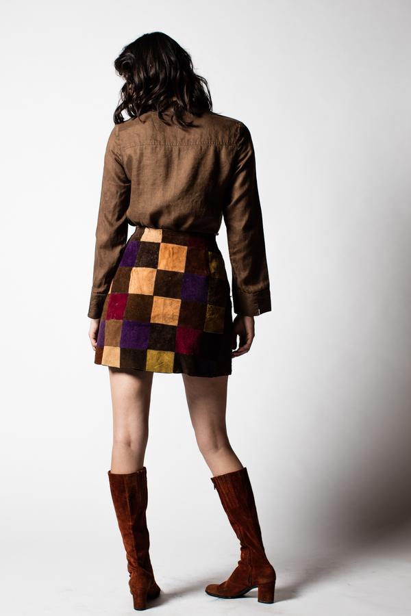 Blacksheep Vintage Patchwork Suede Mini Skirt