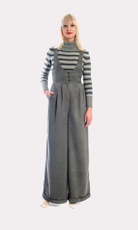 Kurt Lyle Olivia Suspender Pants in Charcoal Ultrasuede