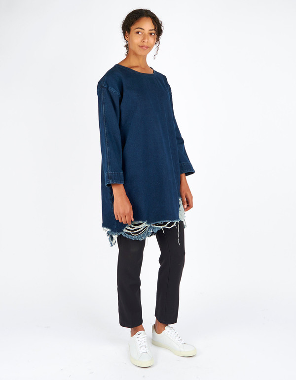 Waven Eira Distressed Denim T Dress Blue Rip & Repair