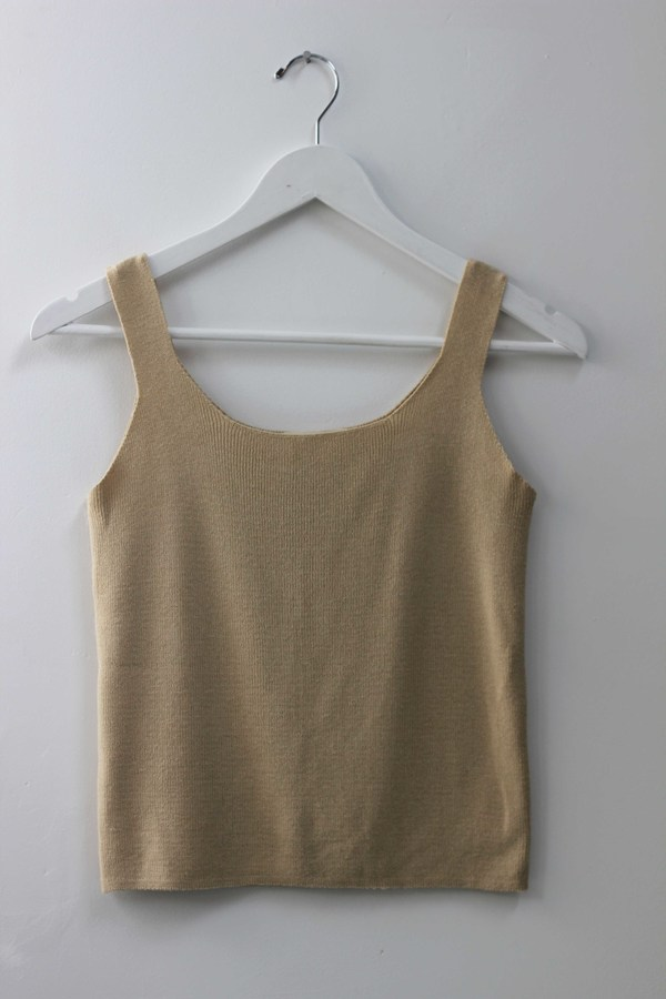 Hey Jude Vintage Tan Knit Tank
