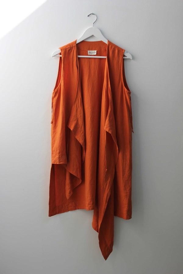 Hey Jude Vintage Asymmetrical Linen Vest