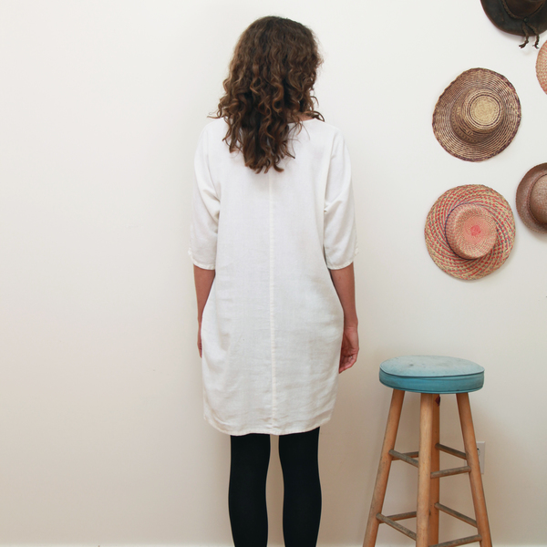 Me & Arrow Dolman 3/4 Sleeve Dress Off White