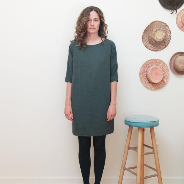 Me & Arrow Dolman 3/4 Sleeve Dress Ivy