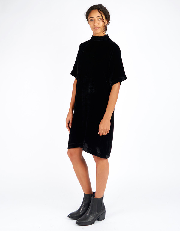 Just Female Ware Velour Dress Black