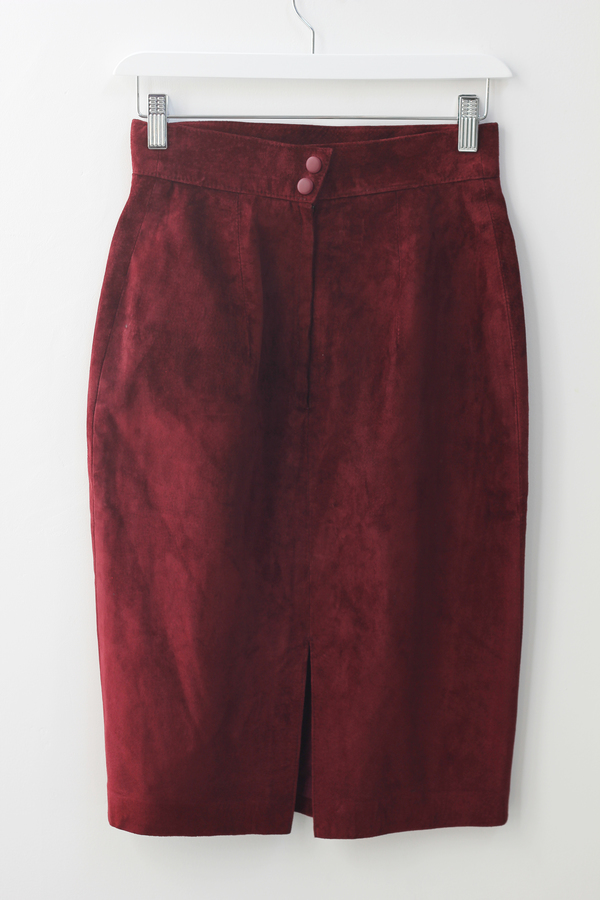 Hey Jude Vintage Oxblood Suede Skirt
