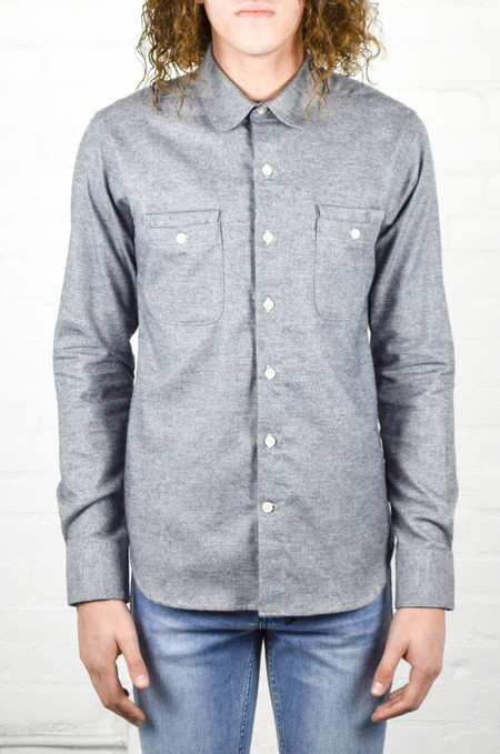 Men's 18 Waits Woodsman Pocket Shirt Navy Melange Flannel