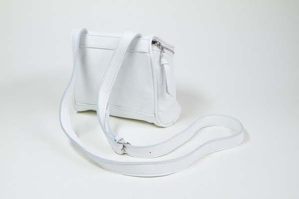 Clyde Camera Bag in White Leather