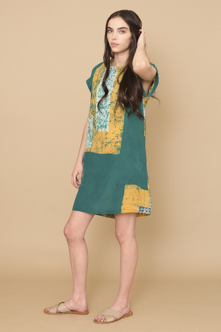 Osei-Duro Deni Raglan Dress in Green Rubics