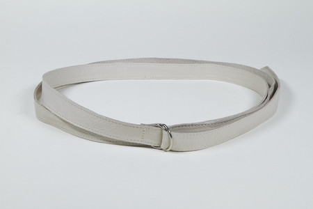 Clyde Double D Ring Belt in Stone Calf Leather