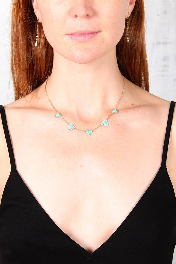 JAQUIE AICHE TURQUOISE PYRAMID NECK