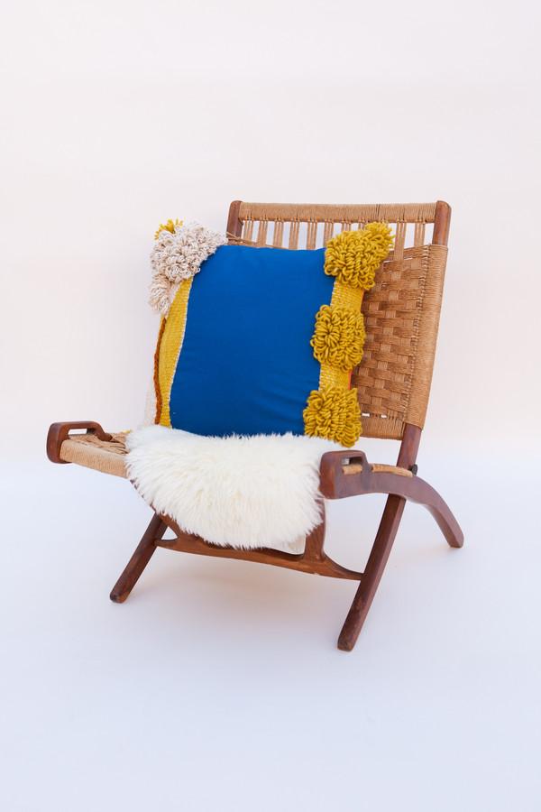 Lykke Wullf x Farron: Blue Square Woven Pillow