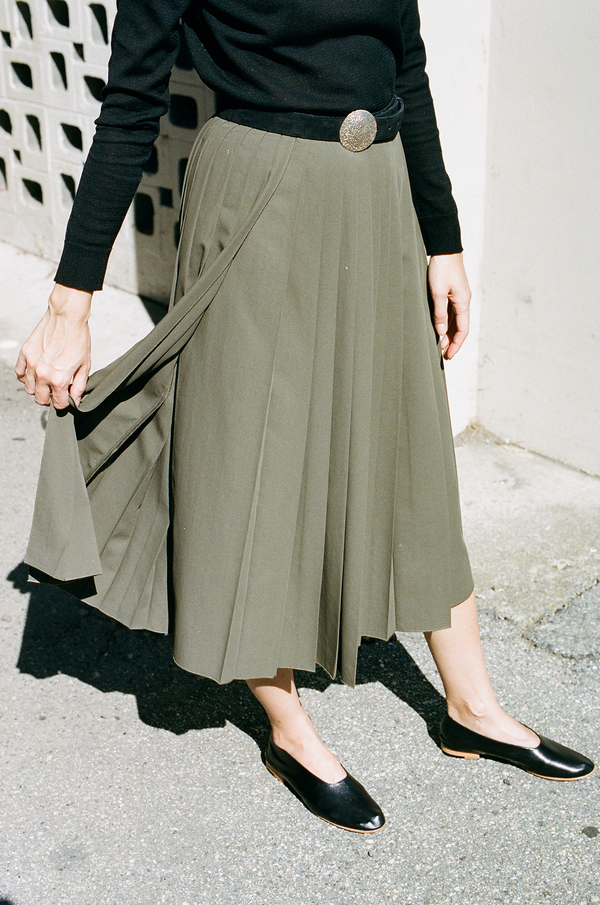 Hope Pleat Skirt - khaki green