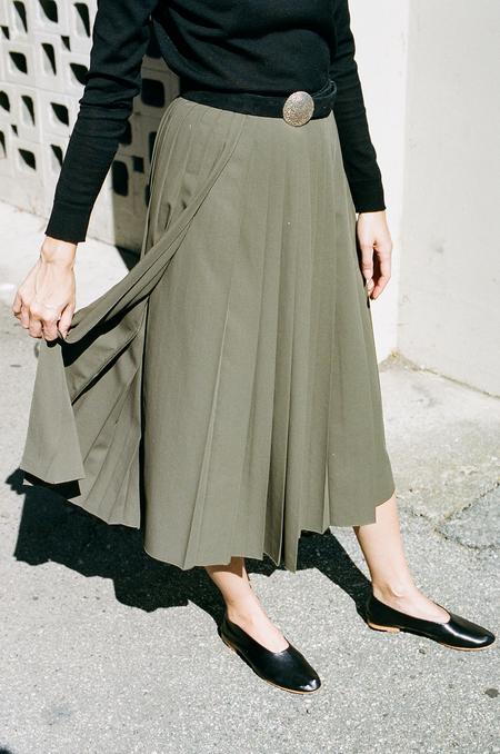 Hope Pleat Skirt - khaki green
