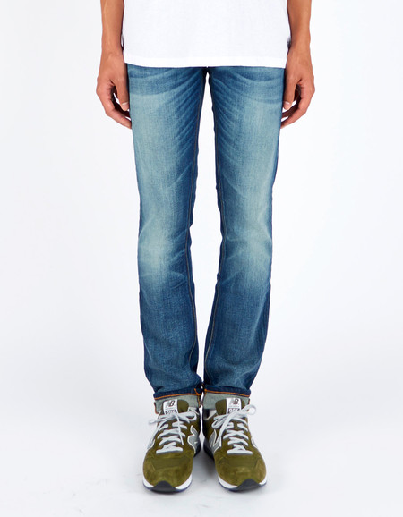 Men's Nudie Grim Tim Dark Crispy Worn Washed Indigo