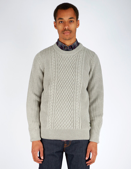 Men's Deus Aran Chunky 5 Gauge Crew Light Grey Marle