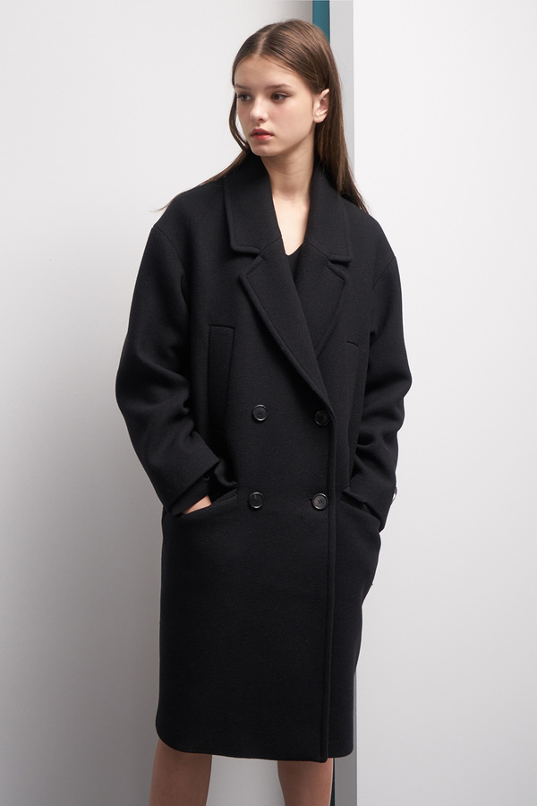 LOOKAST Oversized Double Breasted Wool Coat- Black