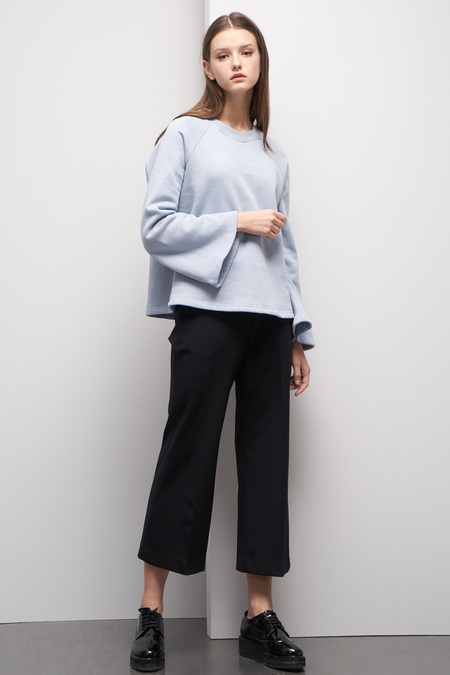 LOOKAST Bell Sleeve Sweatshirt- Baby Blue