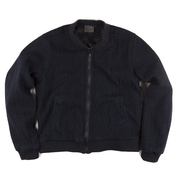 NAKED AND FAMOUS Bomber Jacket INDIGO DOBBY DENIM