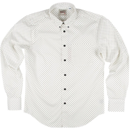 Men's Naked & Famous DOUBLE DIAMOND WHITE PRINTED SHIRT