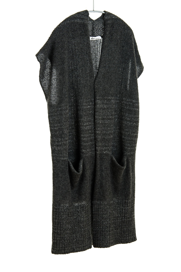 Paychi Guh Cashmere Open Poncho Charcoal