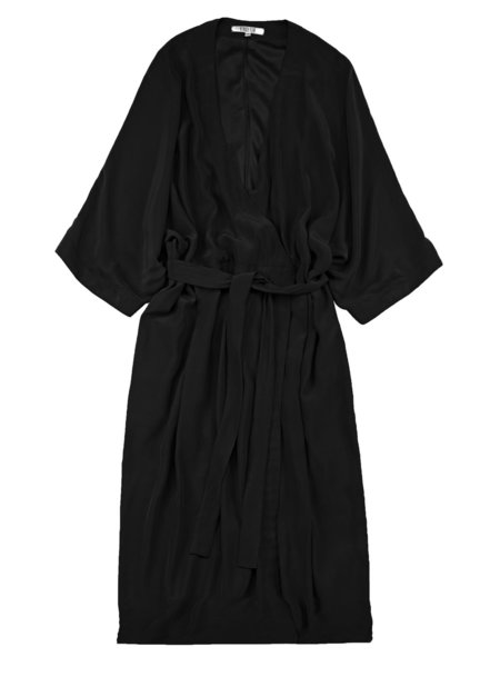 Vincetta Black Knee Length Kimono Dress