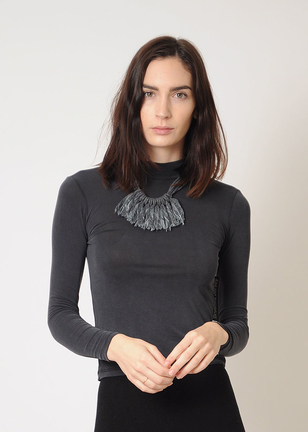 Zelma Rose Graphite Saguaro Fringe Necklace
