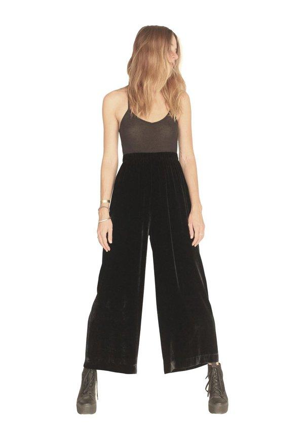 Strathcona Black Silk Velvet Wide Leg Culotte Pant
