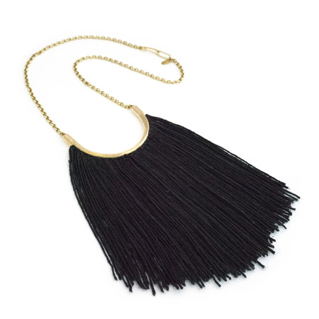 Erin Considine Brass Lunate Chain Necklace with Black Silk Noil
